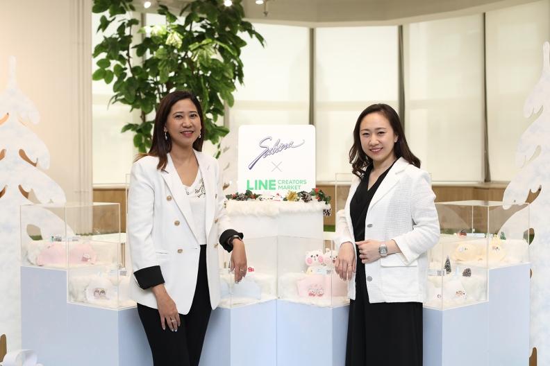 ปทุมา ใจสงฆ์ ผู้ช่วยผู้จัดการฝ่ายการตลาด บริษัท ซาบีน่า จำกัด (มหาชน) และ อิสรี ดำรงพิทักษ์กุล หัวหน้าธุรกิจ LINE STICKERS, LINE ประเทศไทย